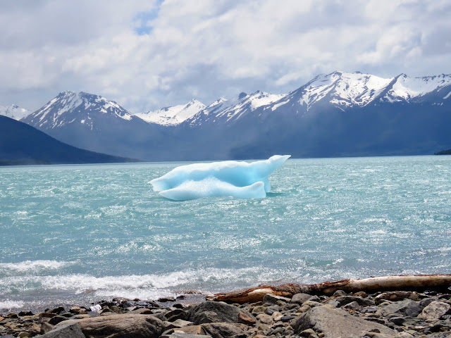 Ice floating down-river from Perito Moreno Glacier near El Calafate Argentina