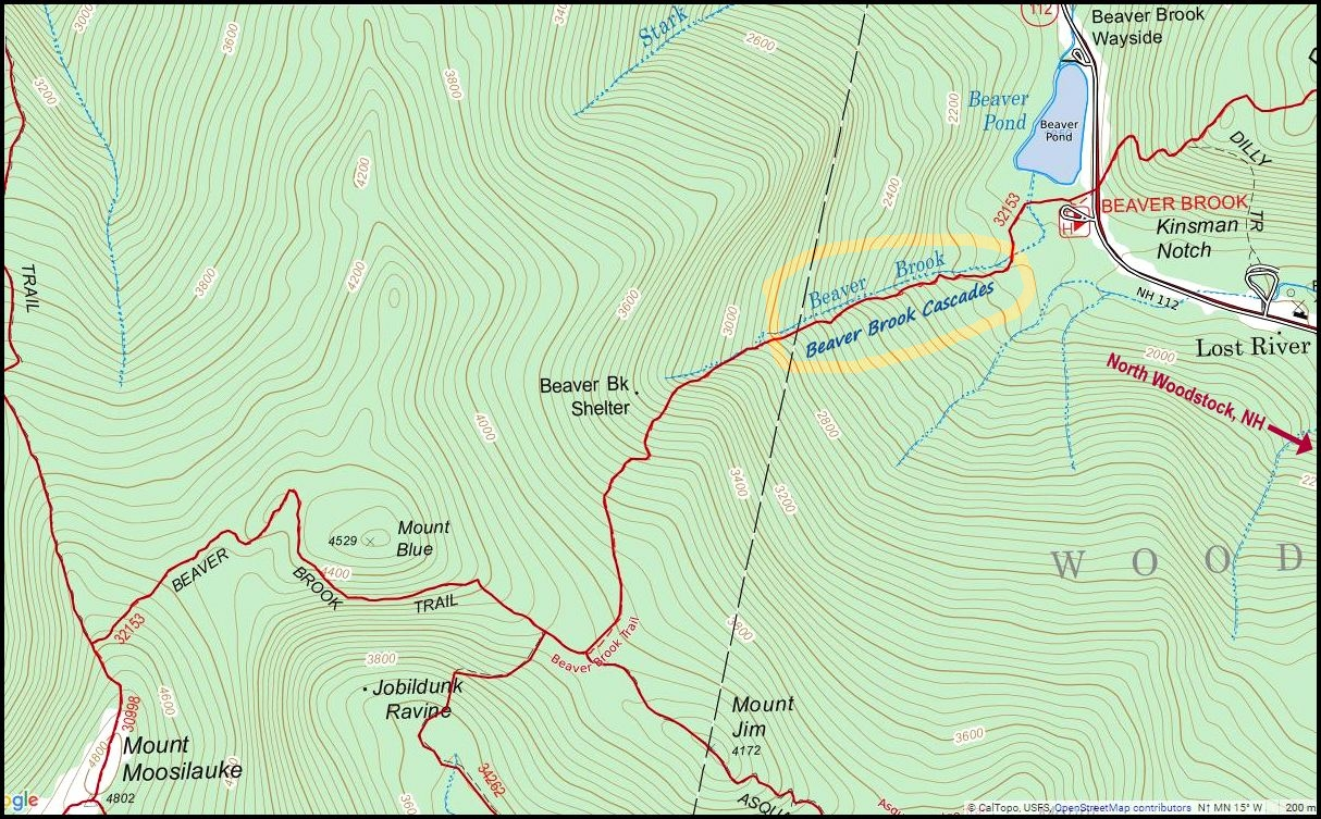 map showing the general location of the cascades along the beaver brooktrail. happyhiker beaver brook trail lots of beautiful waterfalls