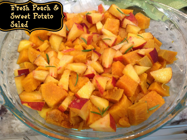 Pyrex glass pie plate filled with cooked chopped sweet potato, and peaches
