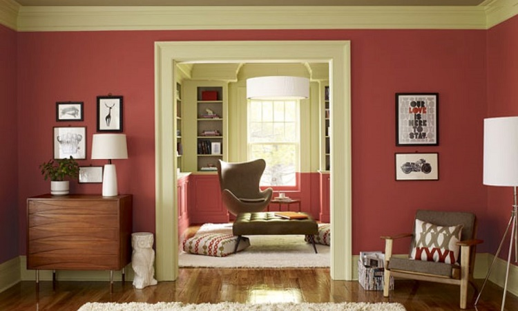 decoração de sala cor de rosa