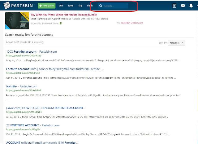 نتائج البحث في موقع حسابات فورت نايت مجانا