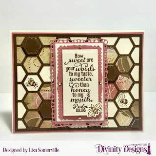 Stamp/Die Duos: Bee-Lieve, Custom Dies: Quilted Honeycomb Background, A2 Landscape Card Base with Layer, Matting Rectangle, Rectangles, Lavish Layers, Filigree Frames, Paper Collection: Beautiful Blooms