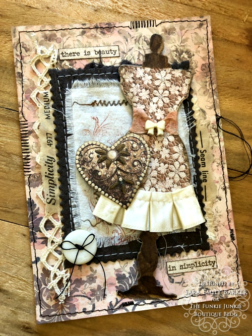 Sara Emily Barker https://sarascloset1.blogspot.com/2020/04/beauty-in-simplicity.html Sewing Themed Card Stamperia Old Lace Tim Holtz Stitches Tiny Text 1