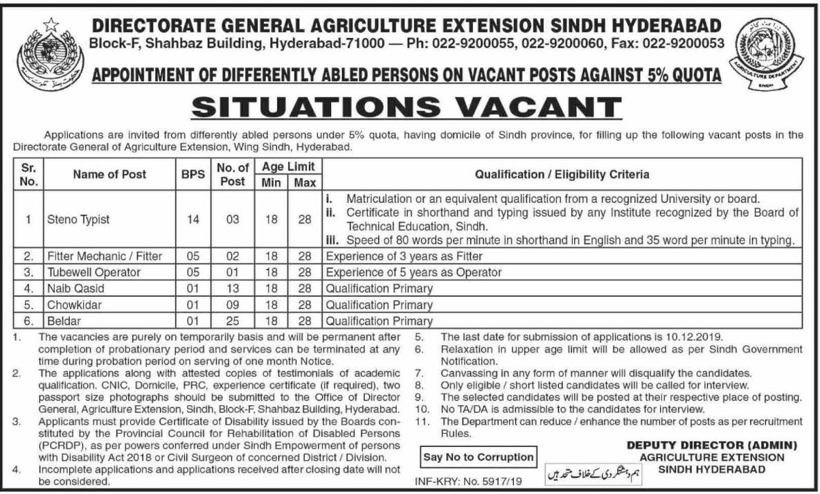 53 Jobs in Agriculture Department Government of Sindh