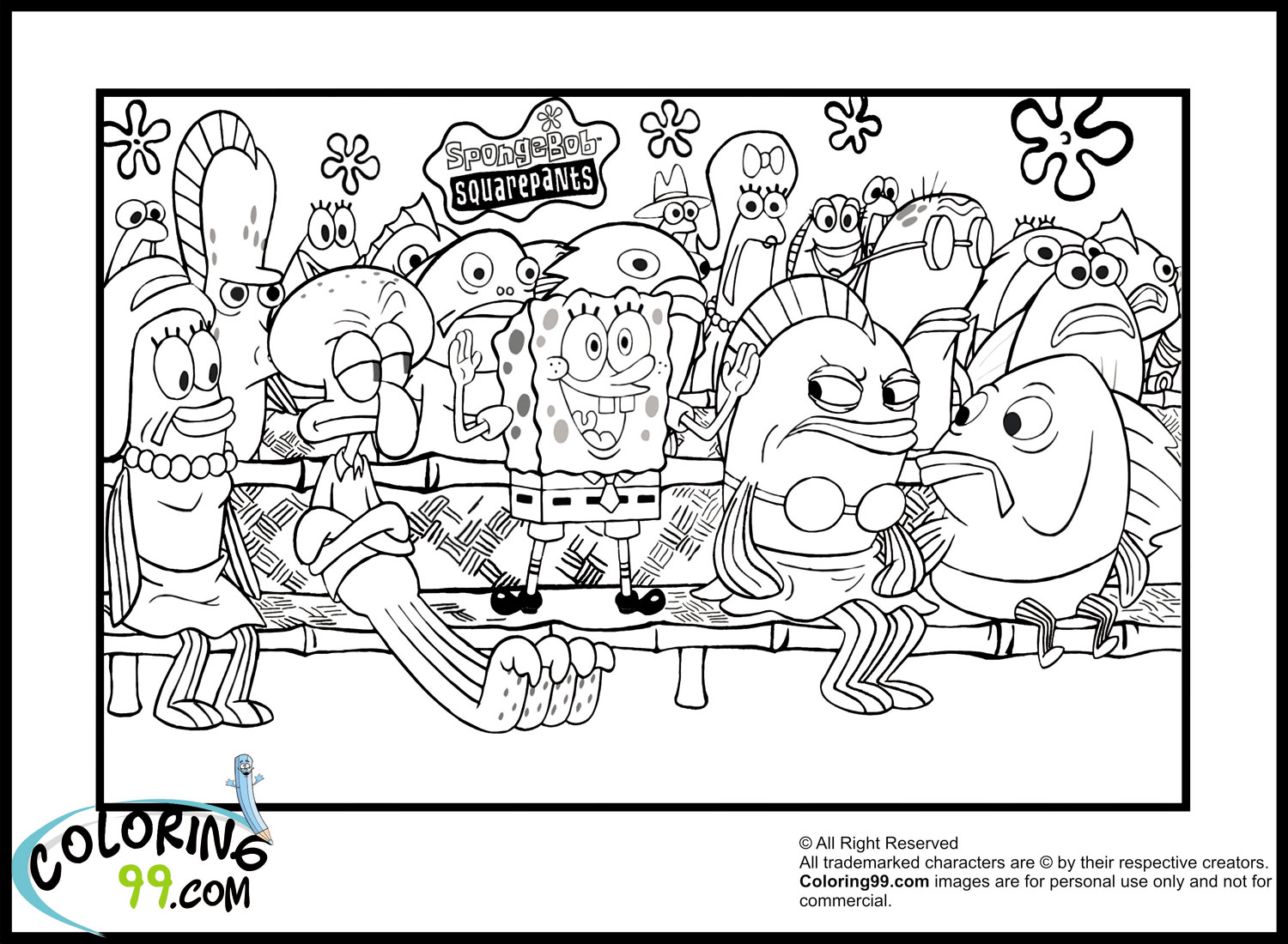 coloring pages of spongebob - february 2013 team colors