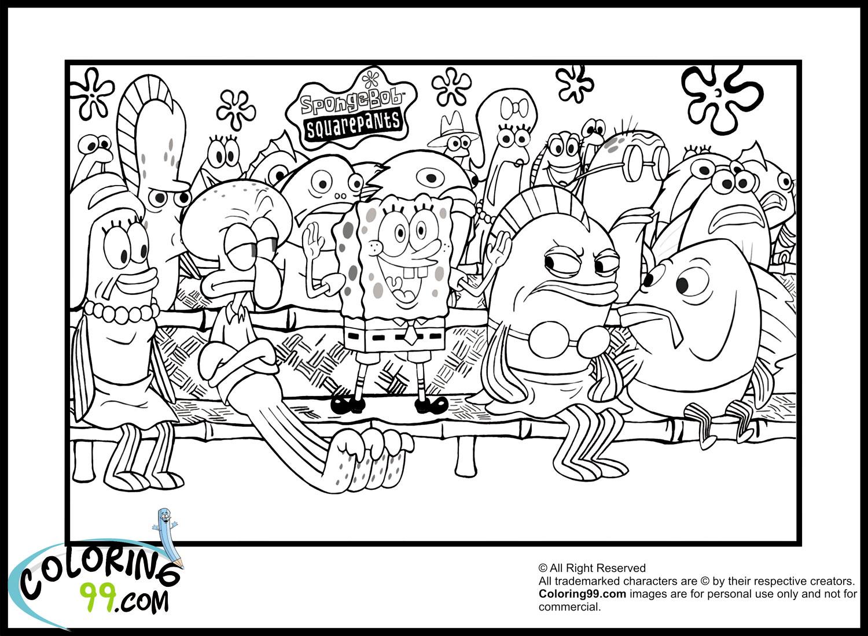 Spongebob coloring pages team colors for Spongebob squarepants coloring page