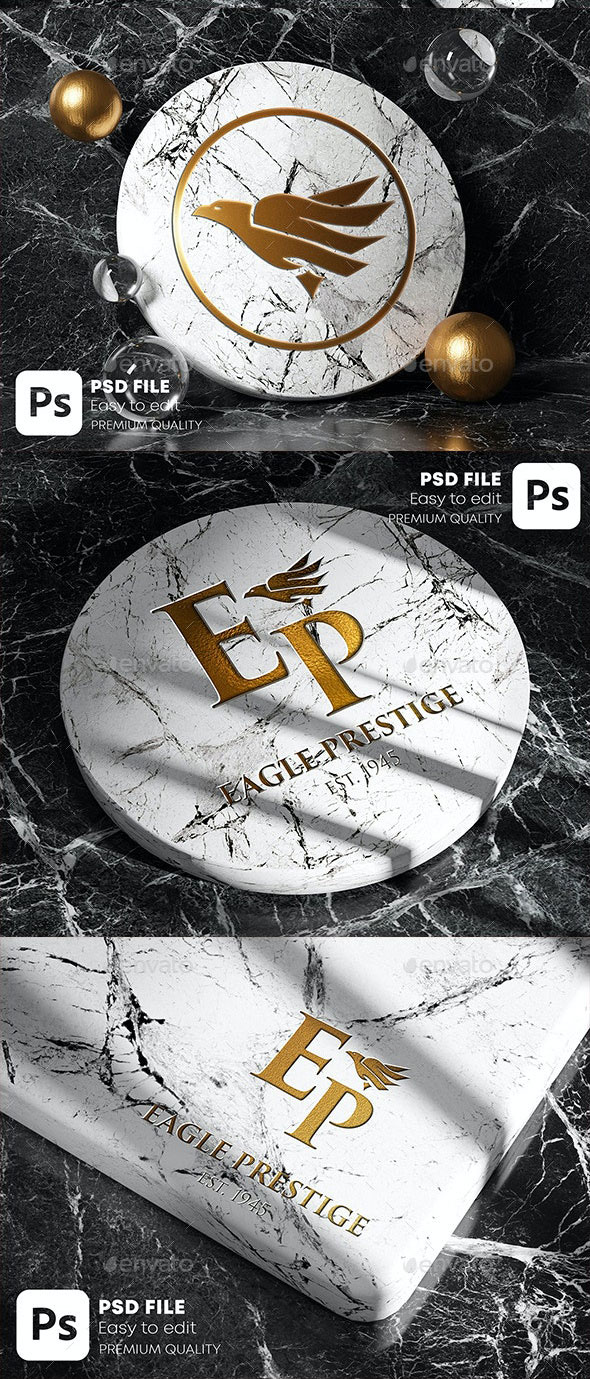 GraphicRiver Gold Marble Logo Mockup Pack 28404047 Free Download