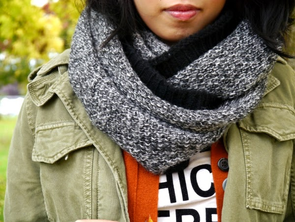 Black and white marled knit circle scarf