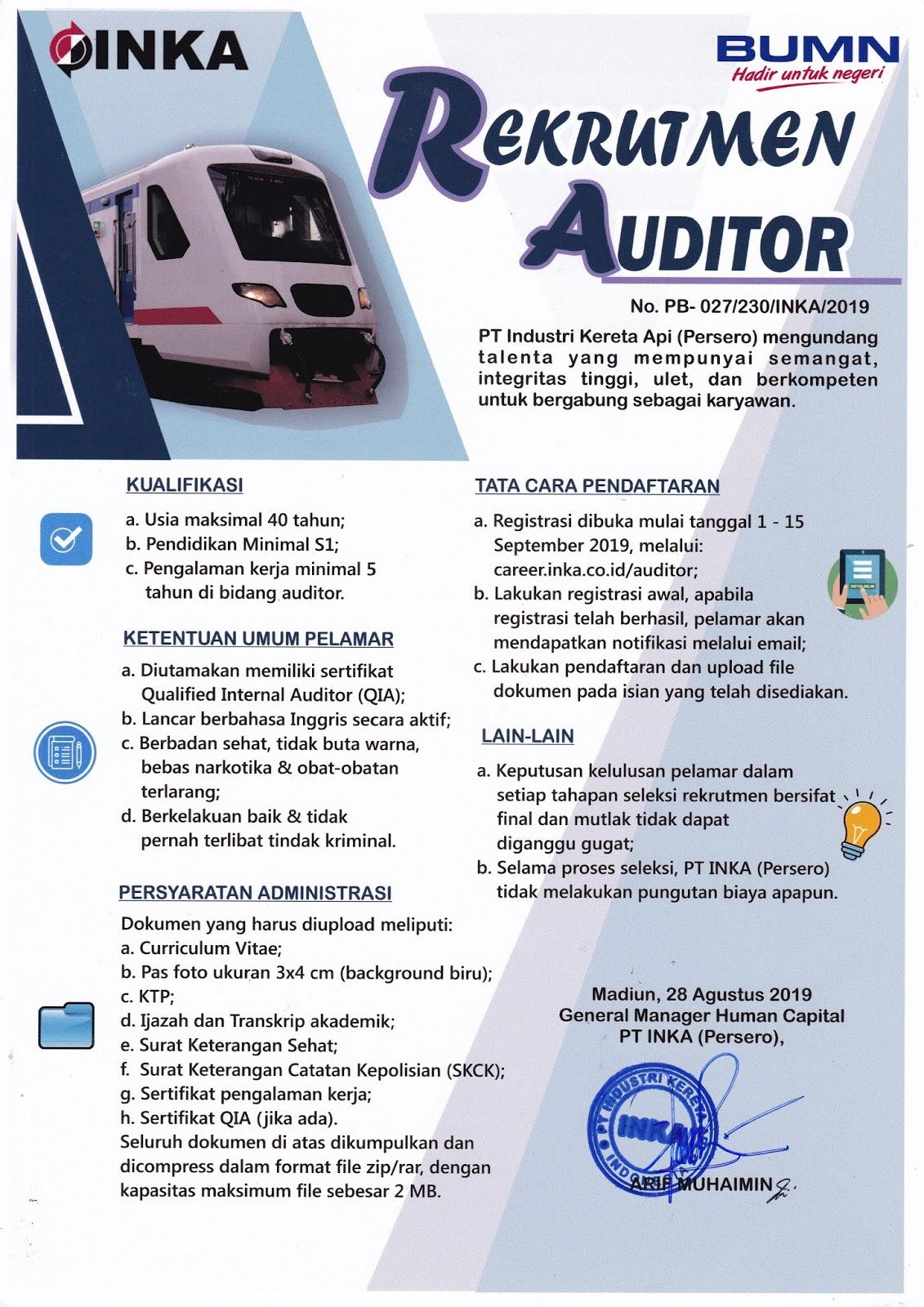 Lowongan Kerja Terbaru PT Industri Kereta Api (Persero) Tanggal 1-15 September 2019