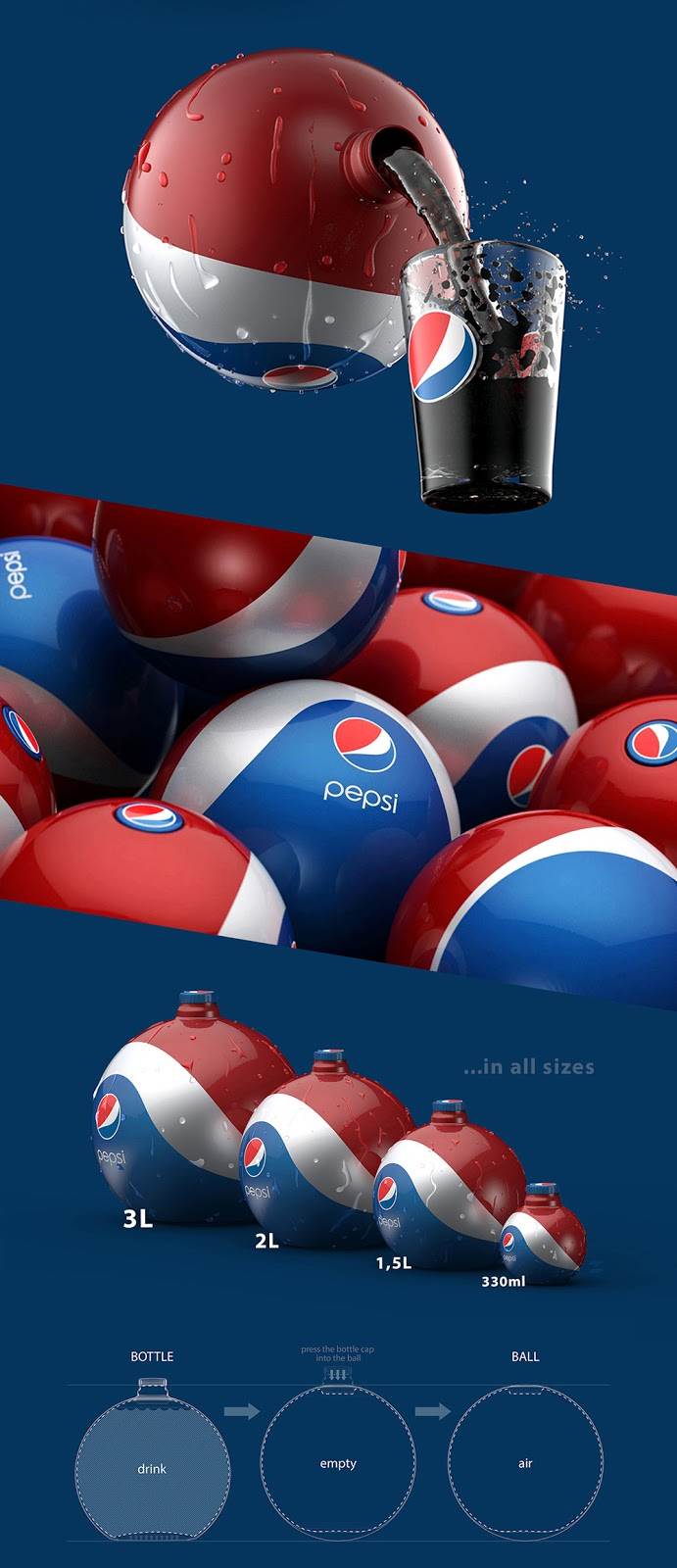Pepsi Rubber Ball  Bottle Concept on Packaging of the World  Creative Package Design Gallery
