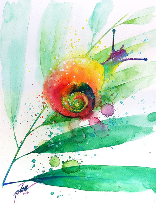 09-Snail-Tilen-Ti-Colorful-Watercolor-Paintings-of-Animals-www-designstack-co