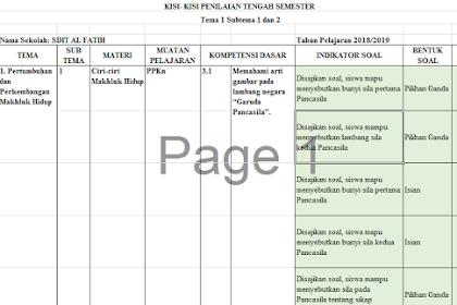 Kisi-Kisi PTS Kelas 3 Semester 1 Kurikulum 2013 Revisi 2018