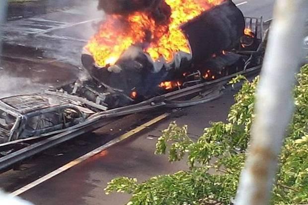 Truk Tanki yang Meledak di Porong Sidoarjo Punya Rute Tujuan ke Malang
