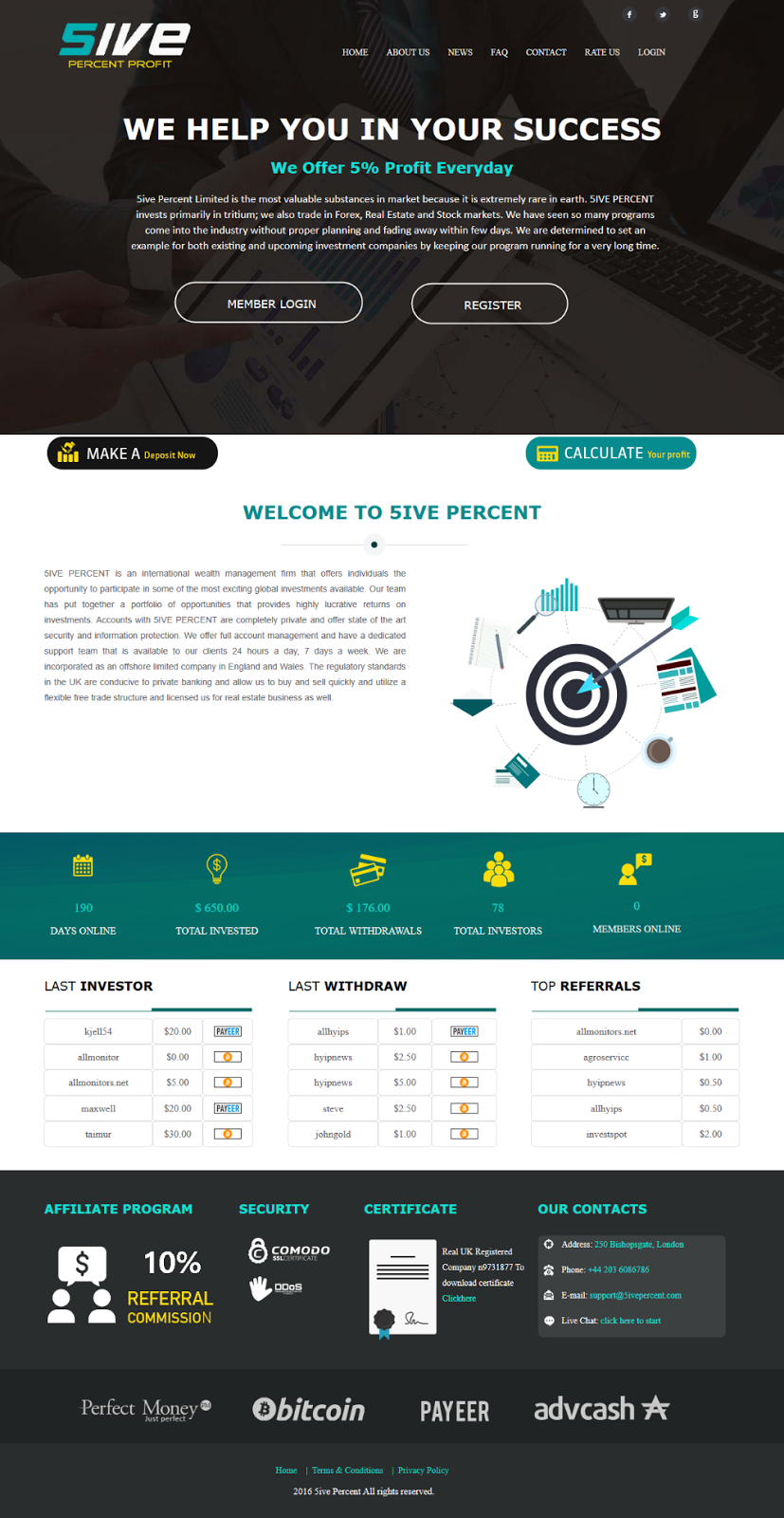 5% HYIP Website Template Design