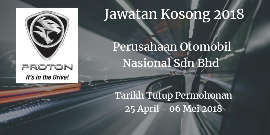 Jawatan Kosong PROTON 25 April - 06 Mei 2018