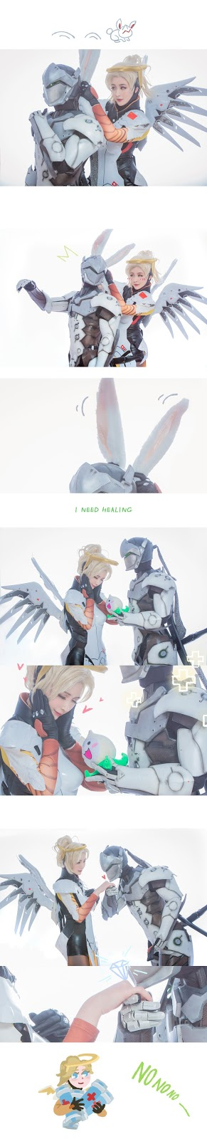 "Cosplay ""Love"" Between Genji And Mercy In The Overwatch"