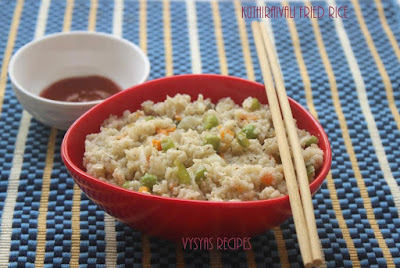 Barnyard Millet Fried Rice - Millets Fried Rice - Kuthiraivali Fried Rice