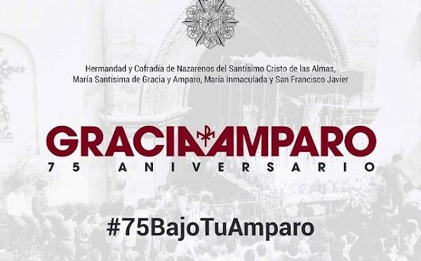 Así es el logotipo del 75 aniversario de la Virgen de Gracia y Amparo de los Javieres de Sevilla