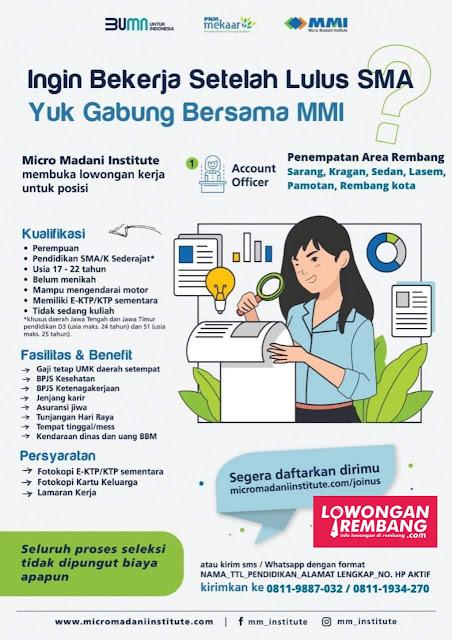 Lowongan Kerja Pegawai BUMN Micro Madani Institute Penempatan Rembang Sarang Kragan Sedan Lasem Pamotan