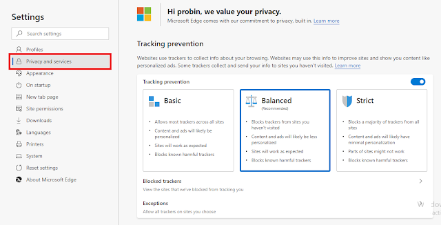 Block trackers in edge browser