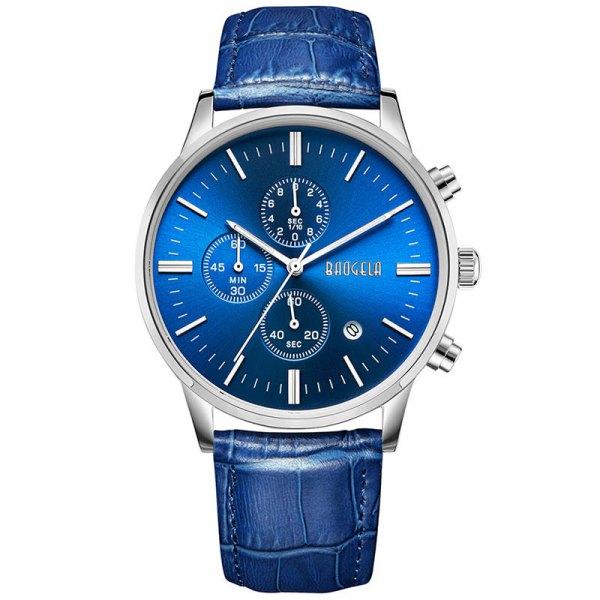 Baogela Men's Quartz Movement Leather Strap Water Resistant Watches