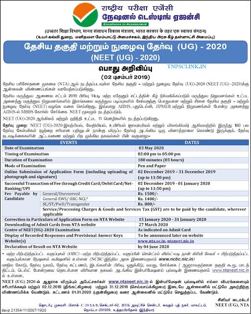 NEET Exam UG 2020 Notification 2.12.2019 Dinathanthi