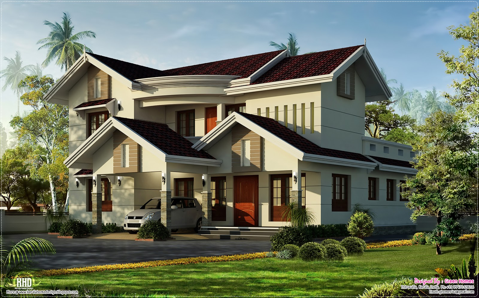 Beautiful villa in 2500 kerala home design and for Green home blueprints
