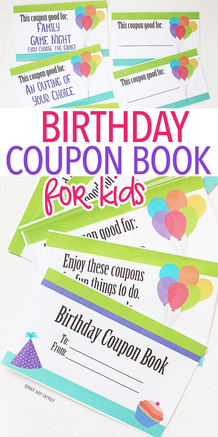 Printable birthday coupon book for kids! These coupons make the perfect gift - let kids enjoy experiences instead of more toys. Totally customizable for parents, siblings, grandparents, or friends - these coupons work for everyone! Birthday Gift | Kids Birthdays | Gift Ideas | Birthday Ideas | Kids Printables