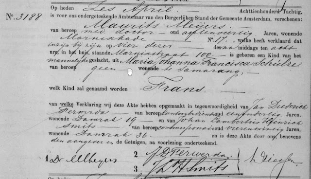 Birth declaration of Frans Schulze