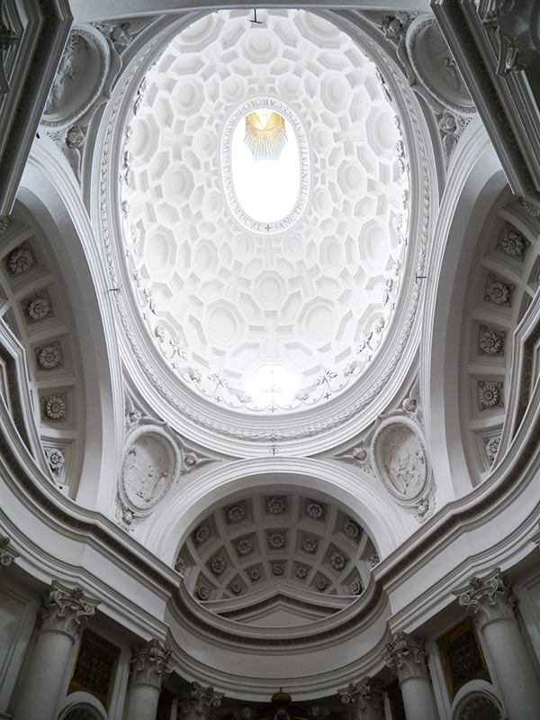 Roof of the Quattro Fontane church in Rome, Italy