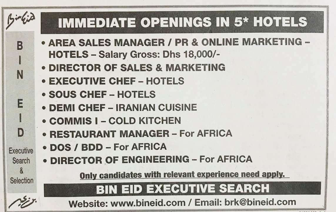 Required Immediate Opening in 5 STAR Hotel Local Hiring UAE Source