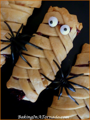 "Individual Mummy Pies: Chocolate raspberry hand held pies. Add ""eyes"" for Halloween mummies. Perfect party snacks. 