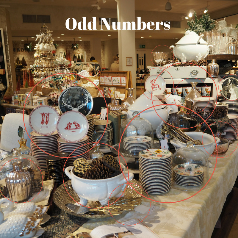 Use odd numbers in your display such as 1, 3, 5. The rule of 3 is very important to remember. This Anthropologie Christmas display highlights this nicely.