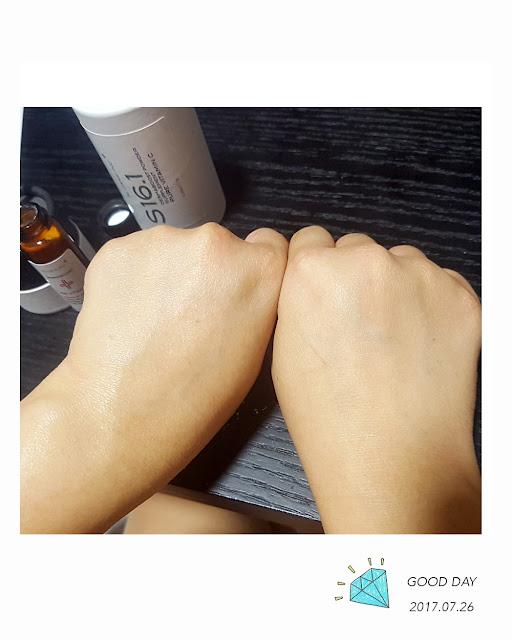 Left hand looking moisturised and glowy after applying DermaBoost Pure Vitamin C