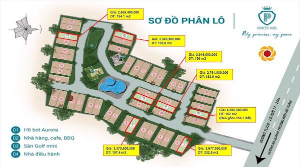 bản đồ phân lô kèm giá bán tại dự án Princess Villas Hồ Tràm