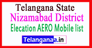 Nizamabad District District Elecation AERO Mobile list in Telangana State