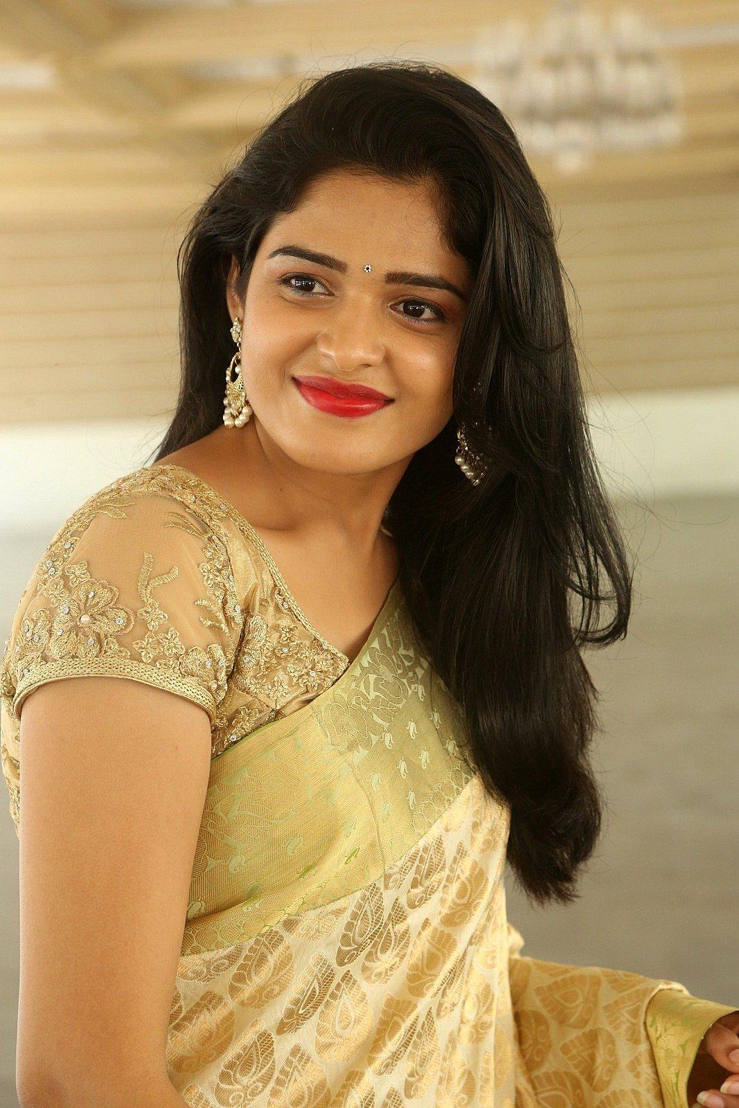 Actress Harshita Hot Yellow Saree Photos In Sexy Blouse Closeup Indian Actress Hot