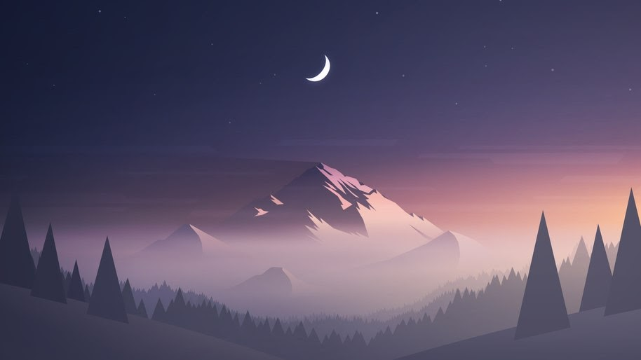 Minimalist Digital Art Mountain Landscape Night Moon 4k