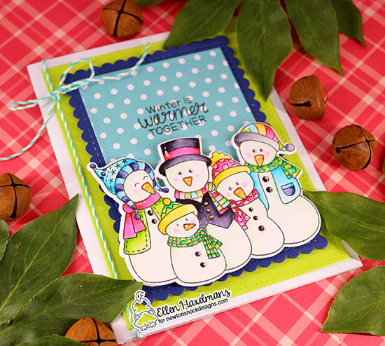 Snowman Card by Ellen Haxelmans | Frosty Folks Stamp Set and Framework Die Set by Newton's Nook Designs #newtonsnook #handmade