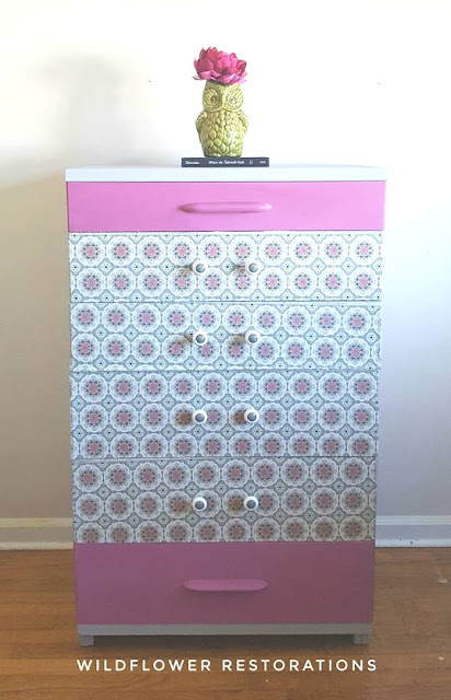 pink and green little dresser