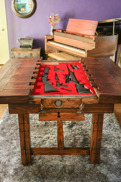Bad Ass Table Conceals Weapons prepping, prepper, guns, concealed weapons, post-apocalypse, shtf