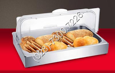 Khay inox trưng bày thức ăn chữ nhật 1 ngăn có nắp pc