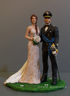Cake topper sposi matrimonio divisa gala uniforme cerimonia aviazione sciabola sposa abito decorato orme magiche
