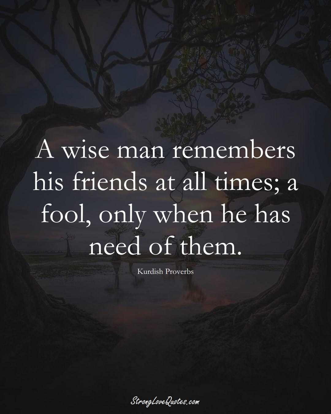 A wise man remembers his friends at all times; a fool, only when he has need of them. (Kurdish Sayings);  #aVarietyofCulturesSayings