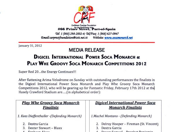 RESULTS OF International Soca Monarch 2012 - FINALISTS