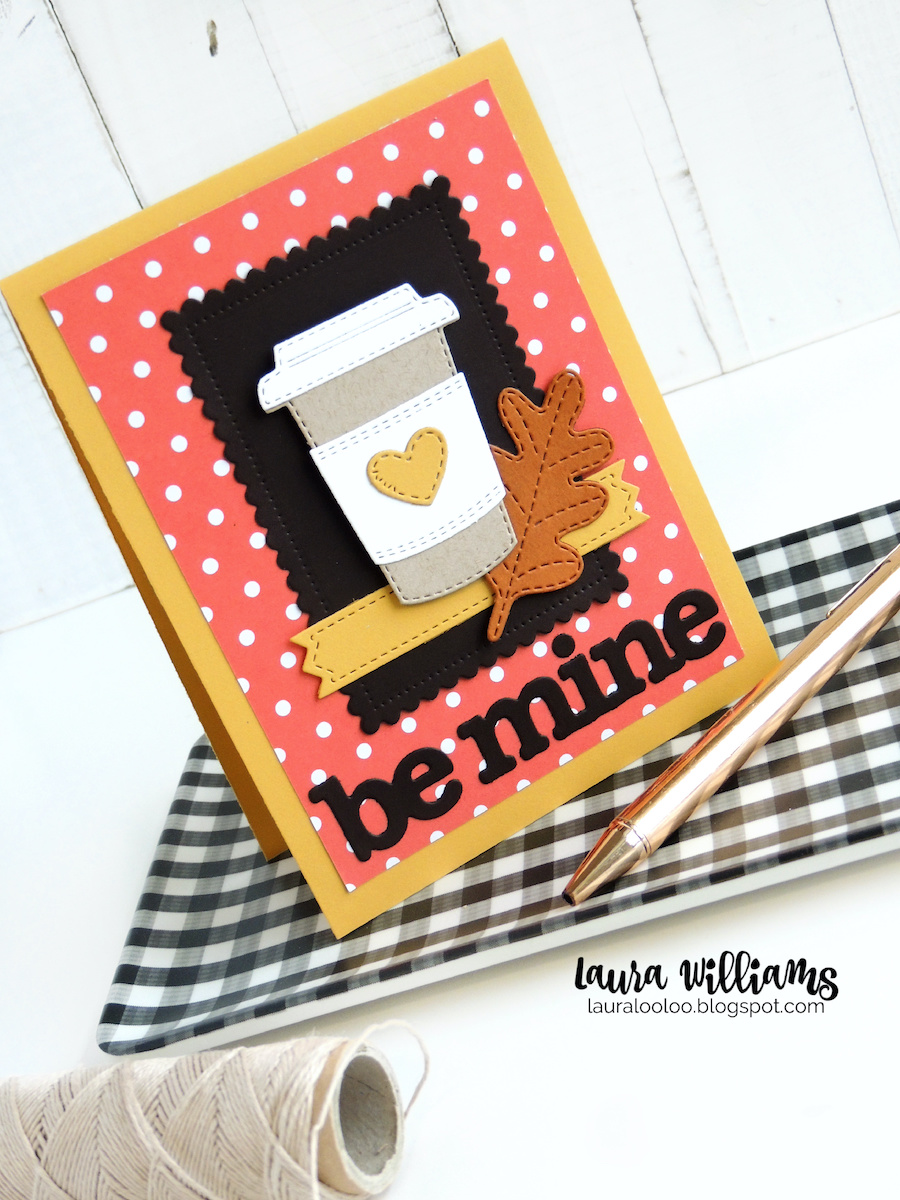 Use the Coffee to Go Die Set from Impression Obsession and an unexpected Valentine die cut words that say Be Mine for a cute fall card for the coffee-lover in your life. Warm colors and a die cut leaf accent finish off these sweet polka-dotted handmade cardmaking idea. Click to see more about this card, and ideas for crafting your own fall cards and paper crafts with diecutting and stamping. #cardmaking #handmade #diecutting