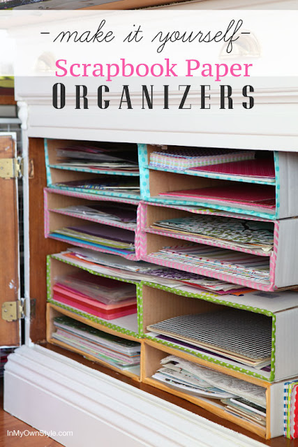Organize scrapbook paper with cardboard boxes :: OrganizingMadeFun.com