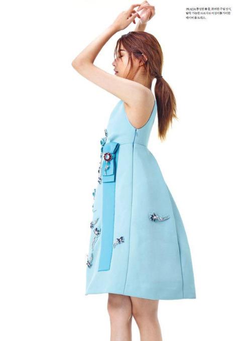 Prada 2015 AW Little Blue Embellished Jersey Gazarre Empire-Waist Dress Editorials