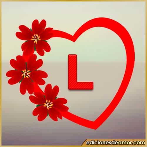 corazón de flores con letra L