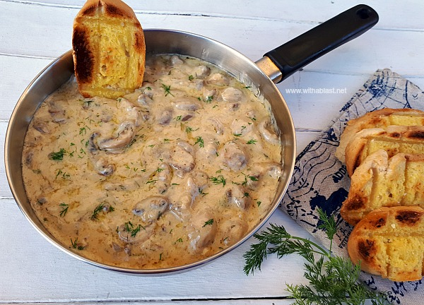 This is divine ! Imagine scooping up creamy Mushrooms with Garlic toast and dipping in the sauce ! Serve as an Appetizer or Side Dish